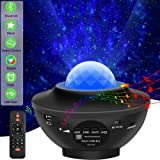 Laser Star Projector Light LED Night Light Projector 3-in-1 Sky Twilight Star Ocean Wave Projection Bluetooth Speaker Voice Control Christmas Projector Light for Baby Kids Bedroom Party Home Holidays (Color: Black)