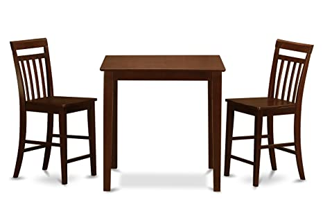 East West Furniture VNEW3-MAH-W 3-Piece Gathering Table Set, Mahogany Finish