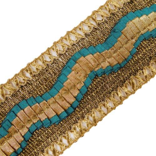 Wide Metallic Ribbon Trim Braid Style Blue Border Lace Sewing Craft Dress Accessory 3 Yd