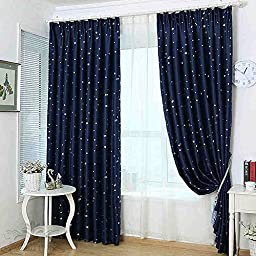Uphome 1-Pair Fashion Star Print Thermal Insulated Blackout Window Curtain Panels - High Quality Kids Room Grommet Top Window Curtains (Navy, 52\
