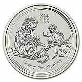 2016年 干支猿銀貨 1オンス クリアケース入り オーストラリアパース造幣局発行 31.1gの純銀 高純度 地金型銀貨 十二支 申 さる シルバー コイン 保証書付き