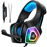 Fuleadture Gaming Headset for PS4 Xbox One, PC Gaming Headset with Mic, Noise Cancelling Over Ear Headphones with LED Light, Bass Surround, Soft Memory Earmuffs for Laptop Mac Nintendo Switch Games (Color: V1 Gaming Headset)