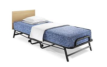 Jay-Be Einzel-Klappbett Bett mit antimikrobieller, wasserabweisender Windermere Kontakt Federkernmatratze–parent, metall, schwarz, Einfach (90 x 190 cm)