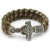 Mjolnir Norse Viking Thor's Hammer Paracord Bracelet WIth Valknut Pagan Amulet Vegvisir Compass Beads Knot Amulet Scandinavian Bracelet (Color: Blee-4)