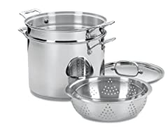 Cuisinart 77-412 Chef's Classic Stainless 4-Piece 12-Quart Pasta/Steamer Set ​