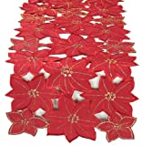 Xia Home Fashions Festive Poinsettia Embroidered Cutwork Christmas Table Runner, 15-Inch by 70-Inch