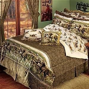 Wild horses western queen comforter set home for Wild bedding