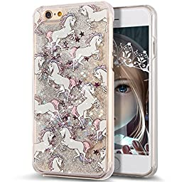 iPhone 6S Case,iPhone 6 Case,NSSTAR iPhone 6S / 6 [Liquid Bling] Case,Creative Design Flowing Liquid Floating Luxury Bling Glitter Sparkle Stars Case for Apple iPhone 6S / iPhone 6,Silver White Horse