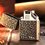 Jobon Classic Art Carving Arc Lighter ZB-310D USB Rechargeable Windproof Flameless with Gift Box (Bronze)