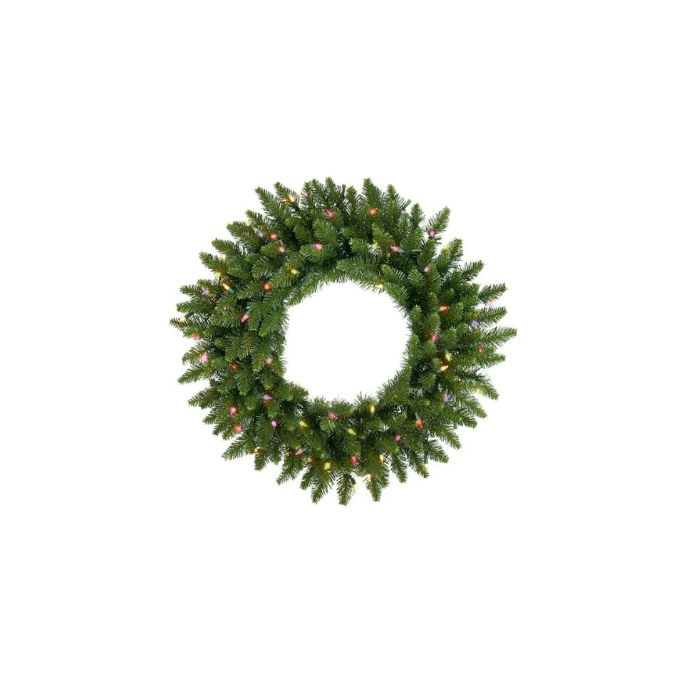 24 Pre Lit Camdon Fir Artificial Christmas Wreath   Multi Lights