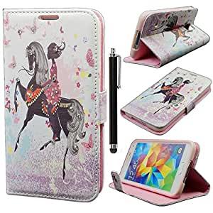 Galaxy S5 Case,Samsung Galaxy S5 Case,Samsung Galaxy S5 Cover, Qbily Fairy Girls Pattern Pink PU Leather Cases Cover Glitter Bling Diamond Decoration Shell with Magnetic Closure Credit Card Slot Pouch Stand Protective Case for Samsung Galaxy S5 / Galaxy SV / Galaxy S V (2014) with Anti-glare Clear Display Screen Protector Film and Black Stylus Pen (Girls Riding a Horse)