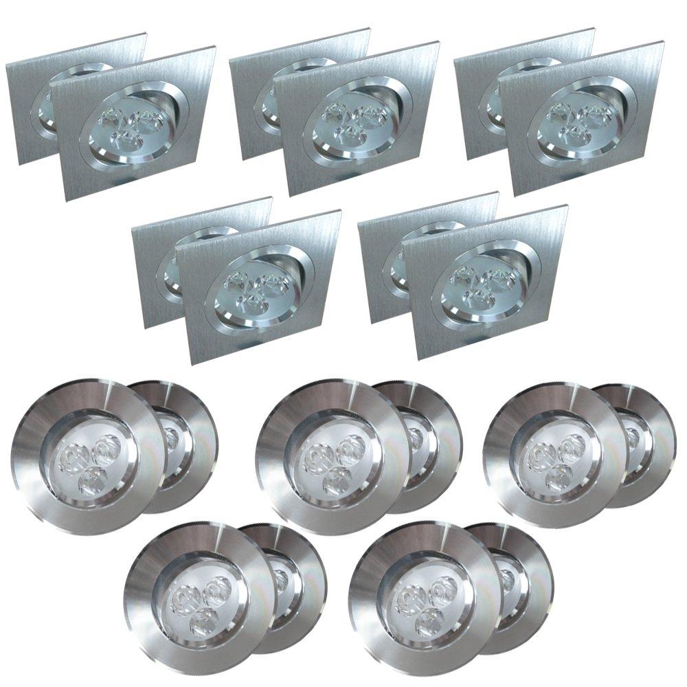 10er Set LED Einbaustrahler Einbauspot Einbauleuchte Deckenstrahler 6W 9W Lampe (6W rund)    Kundenbewertung und Beschreibung