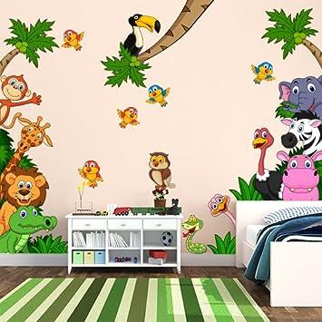 Adesivo murale per bambini wall art cameretta safari for Adesivi muro cucina