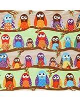 Tissu de créateur What a Hoot avec des hiboux multicolores