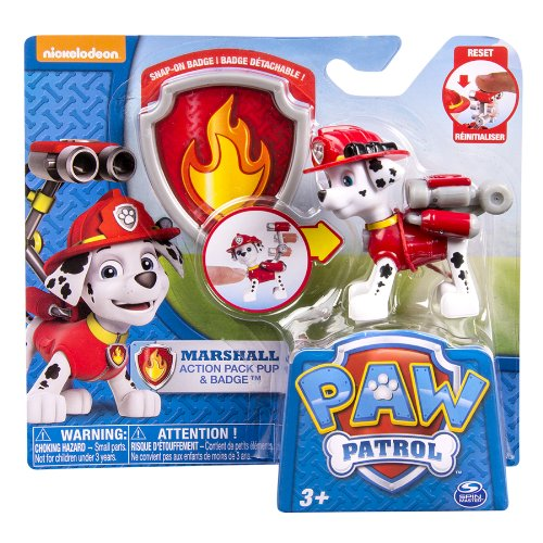 Nickelodeon, Paw Patrol - Action Pack Pup & Badge - Marshall - 1