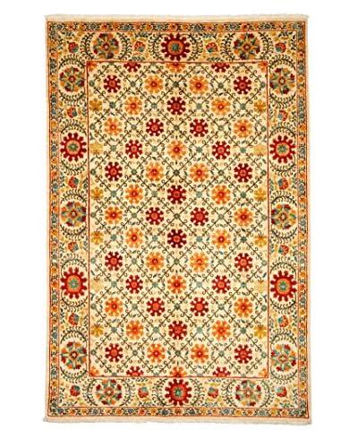 Solo Rugs Suzani Hand-Knotted Rug, Ivory Orange, 6' 1 x 9' 1