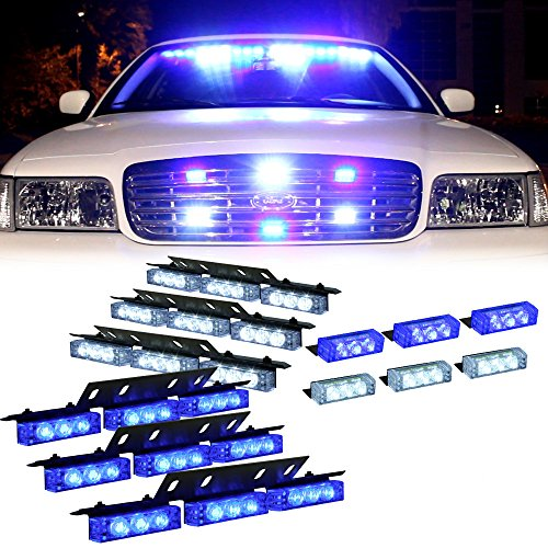 Blue White 54X Led Personal Vehicle Deck Grill Dash Strobe Warning Light - 1 Set