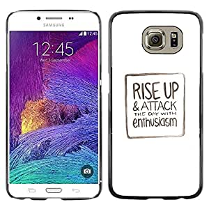 Omega Covers - Snap on Hard Back Case Cover Shell FOR Samsung Galaxy S6 - Text Minimalist White Motivational