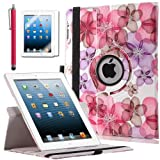 ULAK Premium Floral Patterned PU Leather 360 Degree Rotating Smart Stand Case Cover for Apple iPad 2 iPad 3 iPad 4 New iPad with Screen Protector Stylus and Auto Wake/Sleep Function (Red Flower)