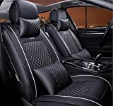(ファーストクラス)FirstClass フロント リア シートカバー レザー ファッション エアバッグホールあり ニードルワーク 通気性に富むフルセット車シートクッション 黒い&白い 汎用 10pcs