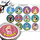 12 x PRE-CUT Disney Princess Cake Toppers By Eshack