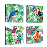 Canvas Wall Art Decor Parrot In Tropical Rain Forest Painting Framed Ready to Hang - 4 Panels 12 by 12 Inches Scarlet Macaw Birds Watercolor Painting Giclee Prints For Home and Office Decoration