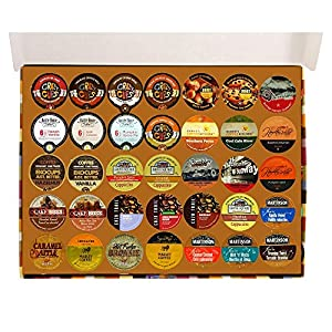 Crazy Cups Flavored Coffee Sampler, Single-cup coffee pack sampler for Keurig Single serve cup Brewers, Gift pack, 35-Count