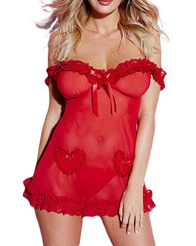Bigood Bustier Schulterfrei G-string Dessous-Set Damen Unterwäsche Rot kaufen