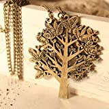 Minidream(TM)Vintage bird tree letter necklace