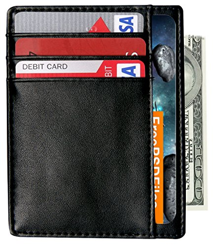 Slim Wallet RFID Front Pocket Wallet Minimalist Secure Thin Credit Card Holder (Card Clip compare prices)