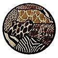 Animal Prints Round Area Rug Design Skinz 70 Black (6 Feet 8 Inch X 6 Feet 8 Inch) Round