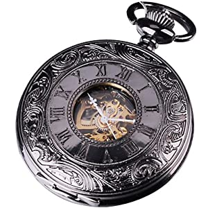 Amazon.com: AMPM24 Mens Elegant Design Analog Mechanical Pocket Watch