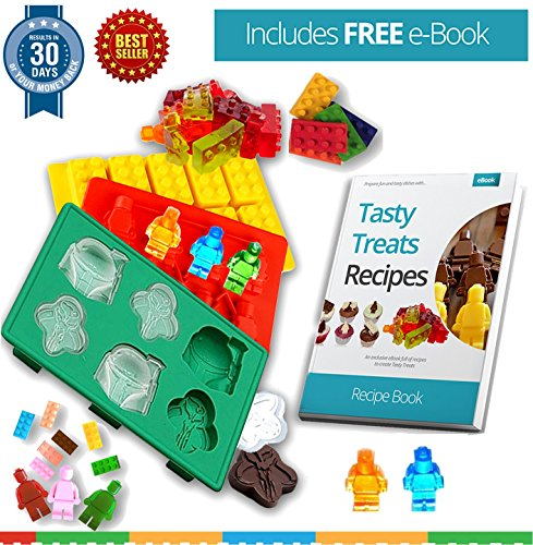 FabQuality Ice Cube Tray Star Wars and Lego Shape Silly Candy Molds with Recipe eBook