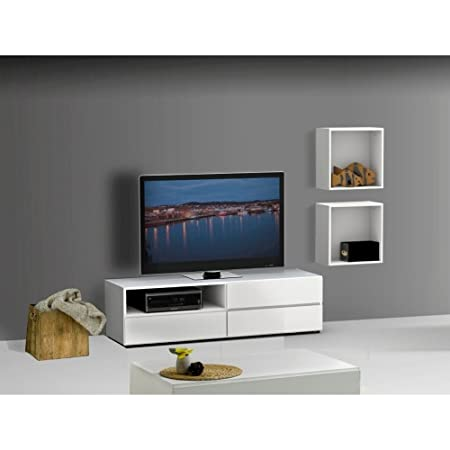 Modern White TV Stand Set With Wall Cubes FMP25160