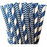 Navy Blue Stripe and Chevron Paper Straw Combo- Pack of 100
