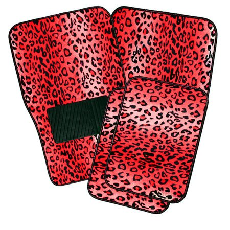 Oxgord Front & Back Seat Leopard Carpet Mats For For Car/Truck/Van/Suv, Red front-973937