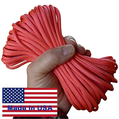 7-Strand Bubblegum Pink Paracord / Parachute Cord 100 Ft. Hank. Guaranteed U.S. Made Military Survival Cord, Type III, 550 Lb.