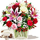 DELIGHT BOUQUET & CHOCOLATES with FREE DELIVERY - Birthday Flowers Thank You and Anniversary Bouquets by Eden4flowers