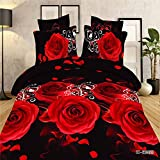 3d Flower Red Rose Black Skin Print Bedding Sets, 100% Cotton Queen Size 3d Bedding Set, 4pcs with Duvet Cover, Bed Sheet, 2*pillow Case (Comforter Not Included)