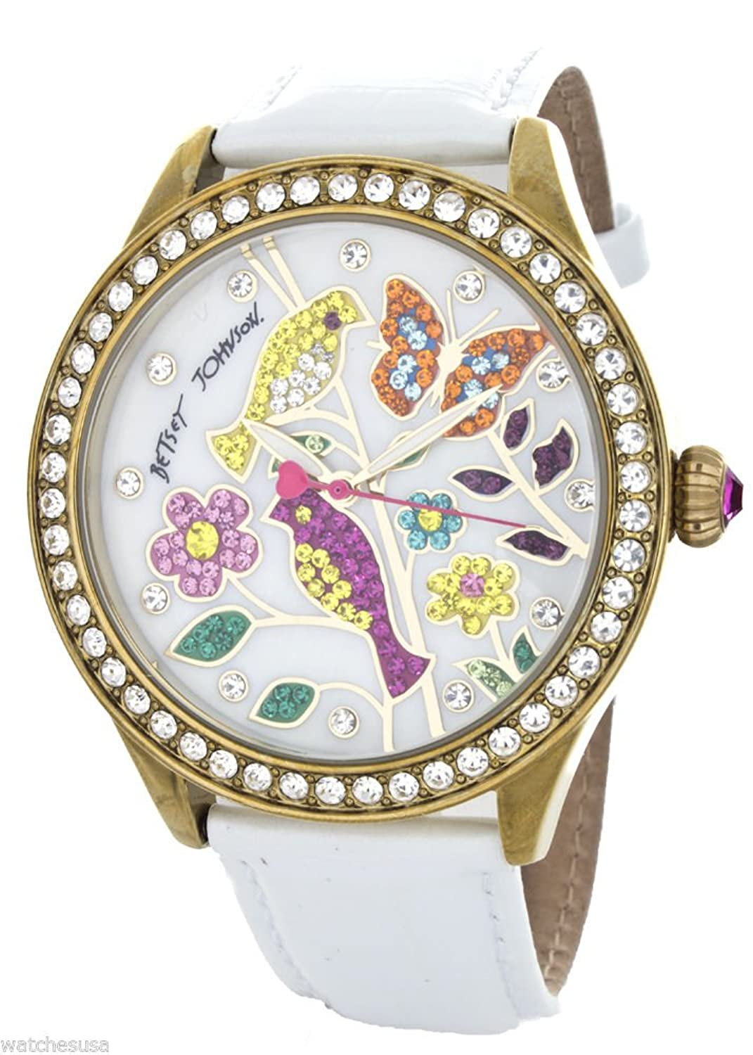 Betsey Johnson Women's White Mother of Pearl Bird & Flower Dial Watch BJ00131-45