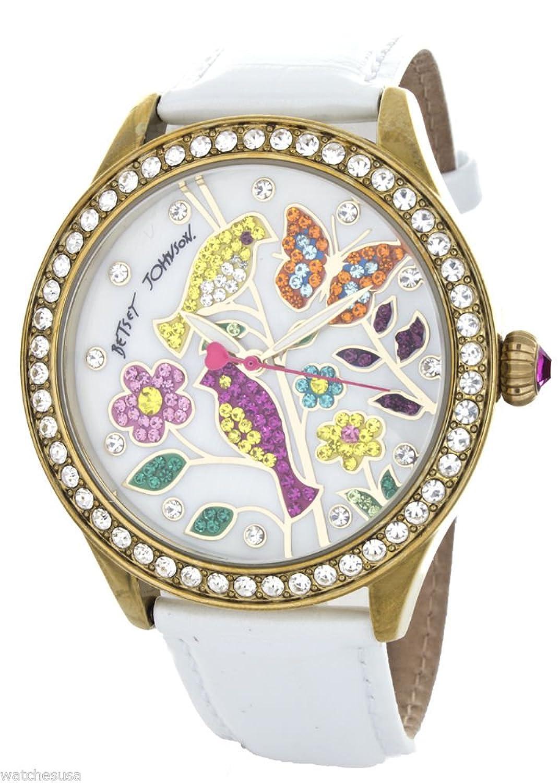 Betsey Johnson Women's White Mother of Pearl Bird & Flower Dial Watch BJ00131-45