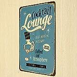 Cocktail Lounge Tin Sign Vintage Metal Plaque Pub Bar Wall Decor
