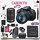 Canon EOS Rebel T5i Camera with EF-S 18-135mm STM Lens + Canon EF-S 55-250mm IS II Lens + Wireless Remote + Wide Angle Lens / Telephoto Lens + 3pc Filter Kit + 32GB SDHC Class 10 Card + SLR Gadget Bag + 57 Tripod 22pc Canon Saver Bundle