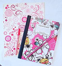 Doodle Cute Composition Notebook and Folder Set -Includes Matching Pen and Pencil! (Fanciful Floral)