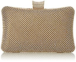 MG Collection Raquel Clutch, Gold, One Size