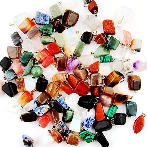 Mutil Random Irregular Shape Healing Beads Crystal Stone Quartz Charms Pendants for Necklace Jewelry Making(30pcs) (Gems Jewelry Making Kit compare prices)