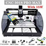 Upgrade CNC 3018 Pro MAX GRBL - 3 Axis PCB PVC Milling Router Engraving Machine with Protected Board - DIY Wooden Router Engraver Cutter Mini PCB Recorder Offline Support (Color: white, Tamaño: 15W)