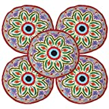 Flower Embroidered Cotton Round Multi Color Cushion Covers 18 Inches Set 5 Pcs