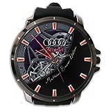 Audi Mateus Bauer Edition Engine Custom Sport Wristwatch Sport Big Face Rubber Band (Color: Black)