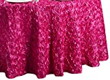 LinenTablecloth Rosette Satin Round Tablecloth, 130-Inch, Fuchsia